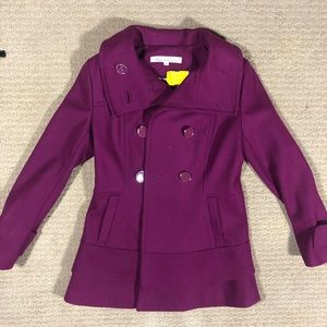 Kenneth Cold Ruffle Long Magenta Purple Pea Coat